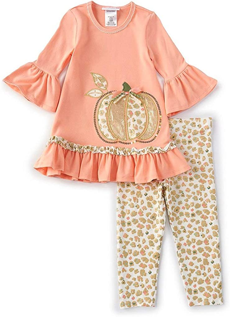 Bonnie Jean Girl's Thanksgiving Outfit Coral It is very popular Pink favorite Pumpkin - Legg