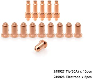 WeldingStop 249926 Electrode 30A Nozzle 249927 Tip Fit Miller Spectrum 375/625 X-TREME Cutter XT30 XT40 Torch PK-15