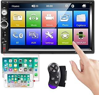CAMECHO Bluetooth Car Estéreo 2 DIN 7 '' Pantalla táctil Reproductor MP5 Radio FM iOS/Android Teléfono Enlace de Espejo con Puerto AUX/Dual USB/SD + Control del Volante