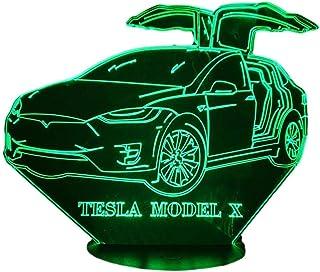 TESLA model X, Lampada illusione 3D con LED - 7 colori.