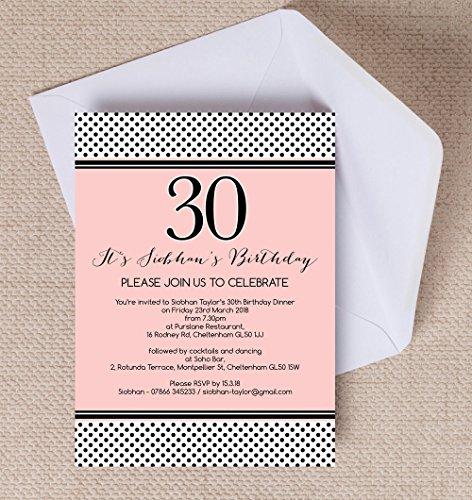 personnalisé Rose et Noir Polka Dot cartons d'invitation d'anniversaire avec enveloppes (lot de 10)