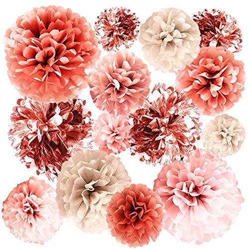 Opaltool 20 Stück Roségold Party Dekorationen Metallic Folie und Seidenpapier Pompoms Blume Ball Baby Shower Brautparty Hochzeit Geburtstag Party 35,6 cm, 25,4 cm, 20,3 cm, 15,2 cm