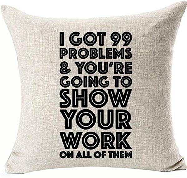 FaceYee Math Classroom Cushion Covers Throw Pillowcases Inspirational Classroom Decoratives Pillowcovers For Bed Couch Chair Sofa 18x18inch Invisible Zipper Color Math Classroom