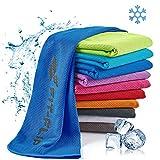 Fit-Flip Asciugamano rinfrescante 100x30cm, Asciugamano rinfrescante in Microfibra per Lo Sport Asciugamano Fresco, Cooling Towel, Asciugamano in Microfibra – Colore: Blu Scuro, Misura: 100x30cm