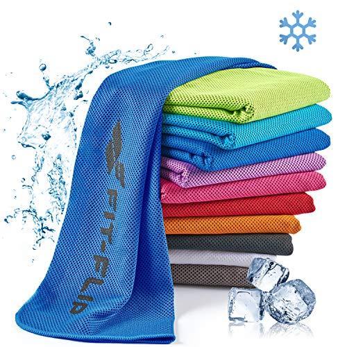 Fit-Flip Kühlendes Handtuch 100x30cm, Mikrofaser Sporthandtuch kühlend, Kühltuch, Cooling Towel, Mikrofaser Handtuch, Farbe: dunkel blau, Größe: 100x30cm