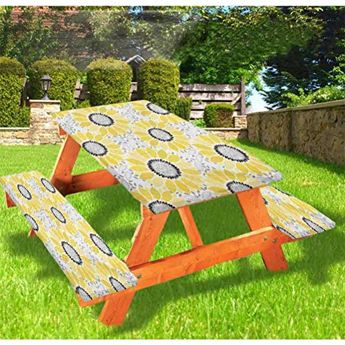 """72"""" Polyester Picnic Table and Bench Fitted Tablecloth Cover,Colorful Sun Flower with Motifs and Patterns Summer Nature Artprint Elastic Edge Fitted Tablecloth for Folding Table,Yellow Gray"""