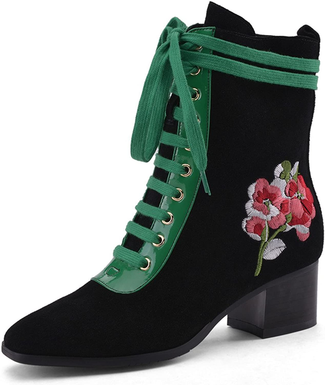 Nine Seven Suede Leather Women's Square Toe Chunky Heel Lace Up Embroidery Flower Handmade Ankle Bootie