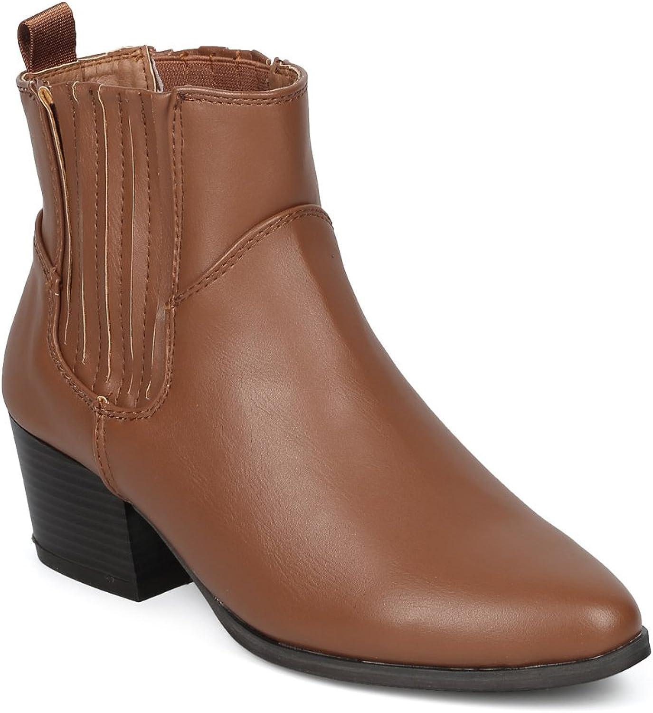 Alrisco Women Leatherette Pointy Toe Chelsea Block Heel Bootie HF33