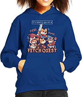 Cloud City 7 Its Time To Go On A Fetch Quest RPG Shiba Inu Kid's Hooded Sweatshirt