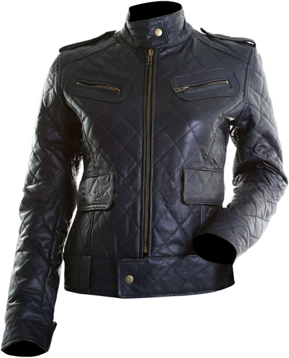 III-Fashions Womens Quilted Motorcycle Bomber Sheepskin Black Leather Biker Jacket