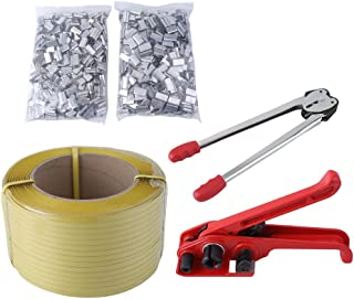 Homgrace Heavy Duty Pallet Strapping Banding Kit Tensioner Tool Sealer Tool 12mm1000M Coil Reel for Packing