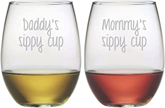Susquehanna Glass, Mommy and Daddy Sippy Cup Stemless Wine Tumbler (Set of 2), 21 oz, Hand Etched
