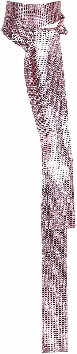 iiniim Women Glitter Sparkle Metal Sequins Neck Tie Scarf 160cm Thin Skinny Long Neckerchief