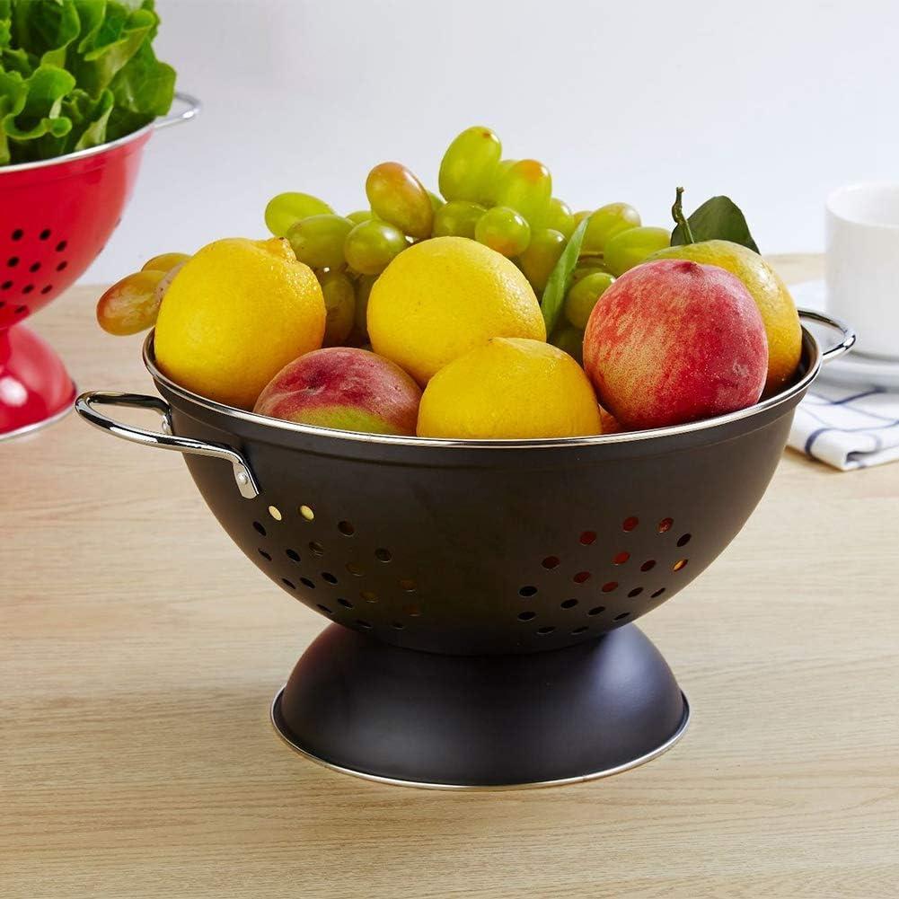 Bicaquu Panier à légumes en Acier Inoxydable, récipient à Fruits, Accessoires de Cuisine durables pour la Maison(Red) Black