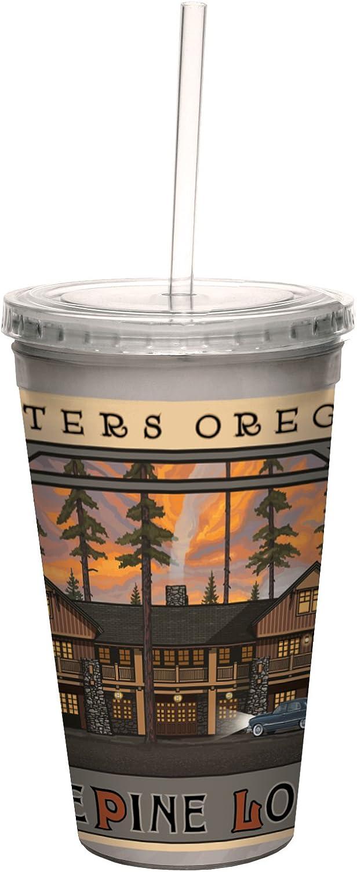 Tree-Libre Greetings Cc33136Vintage Sisters Oregon Cinq Pin Lodge par Paul A. Lanquist Artful voyageler Double paroi Froide Tasse avec Paille, 453,6Gram