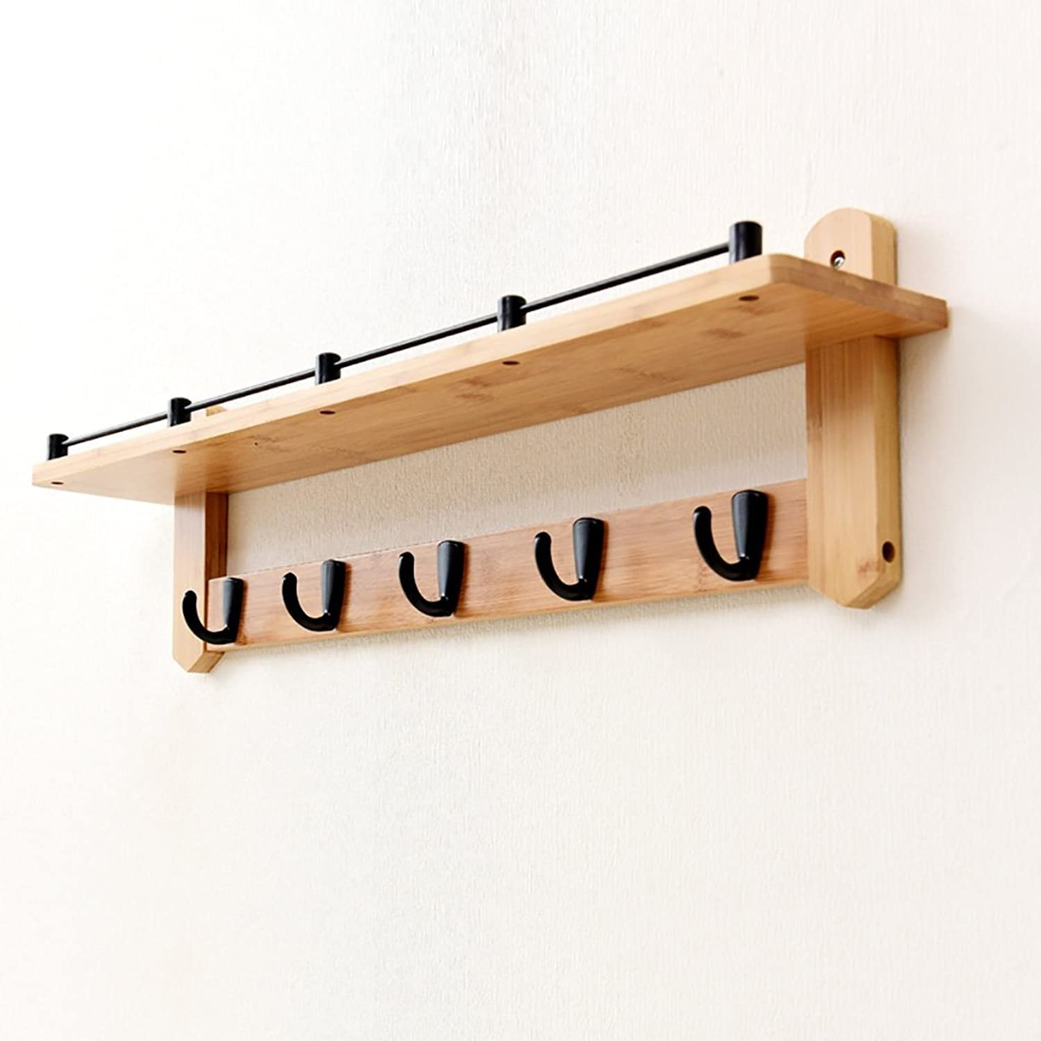 Wall Mounted Coat Rack, Wall-Hung Coat Hooks,Bedroom Living Room Entrance Simple Modern Bamboo System Wall-Mounted Coat Racks. (Size   66  20cm)