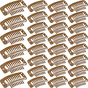 30 Pieces 32 mm 9-teeth Hair Extension Clips Hair Extension Wigs Snap Clips Comb Small Snap Wig Accessories Clips for Women Hair Extensions DIY (Light Brown)