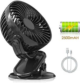 Easthshining Mini Ventilador USB Recargable, Ventilador de Mesa Portátil y Silencioso con Bateria, 360 Grados de Rotación para Oficina, Dormitorio, PC