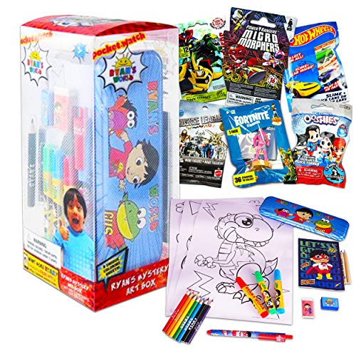 Ryan's World Mystery Box Set ~ 26 Pc Coloring Art Set with Colored Pencils, Notepad, Sticker, and More with Assorted Blind Bags (Ryan's World Party Supplies Bundle)
