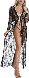 Moon Angle レディース ベビードール セクシーランジェリー 長袖 セクシー レース ロング下着 ナイトドレス 透け ローブ着物 下着 女性 セット