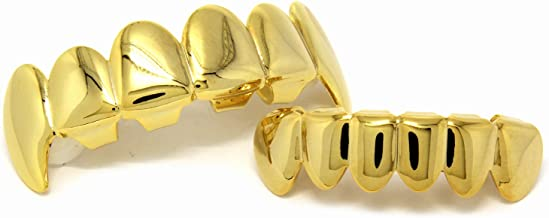 New Custom Fit 14k Gold Plated Hip Hop Teeth Fangs Grillz Caps Top & Bottom Grill Set
