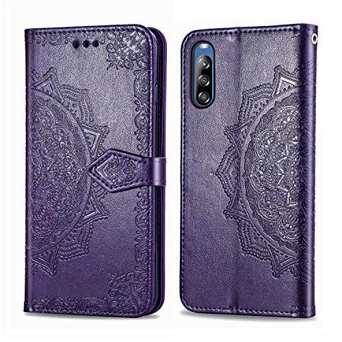 Bear Village Hülle für Sony Xperia L4, PU Lederhülle Handyhülle für Sony Xperia L4, Brieftasche Kratzfestes Magnet Handytasche mit Kartenfach, Violett