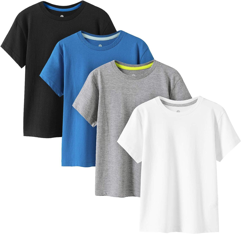 LAPASA Kids T-Shirts Pure Cotton 4-Pack, Short Sleeve White Tees Boy & Girl, 100% Non-Allergenic Cotton Crew Neck Unisex K01