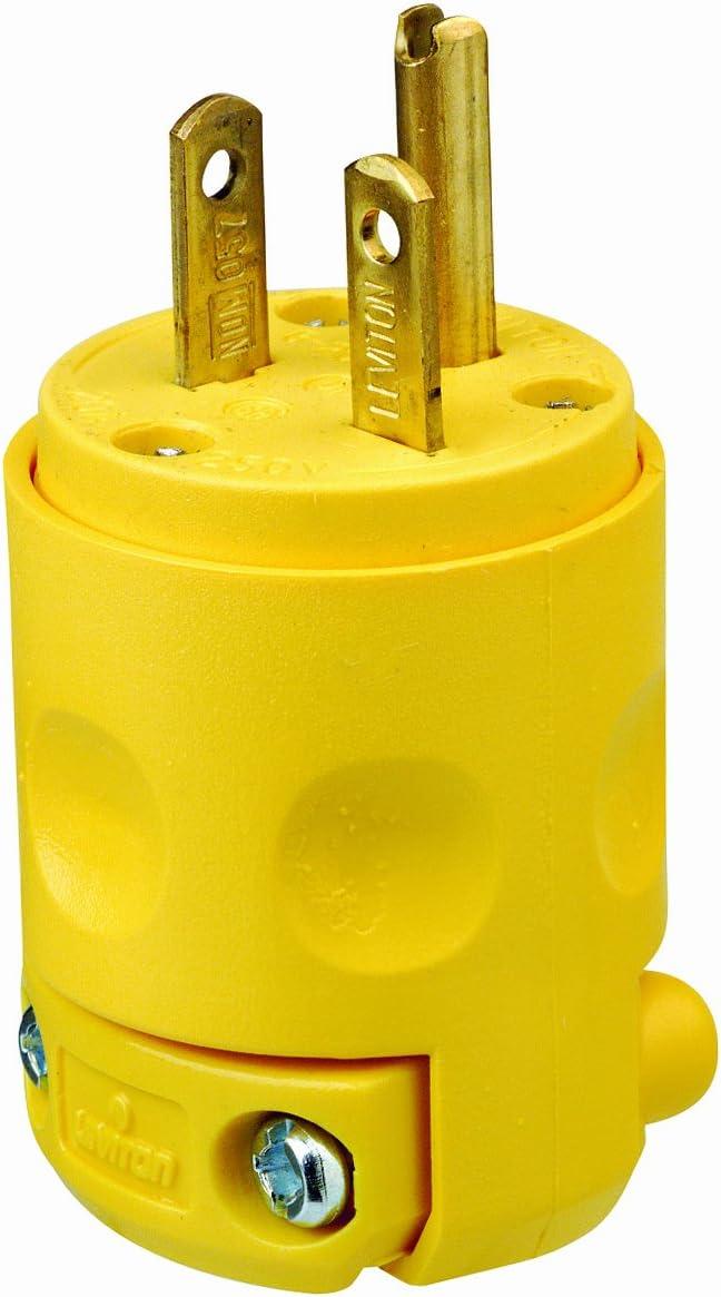 Leviton Genuine 620PV 20 Amp 250 Volt Ranking TOP2 Plug Grounding Yell 1 of pack