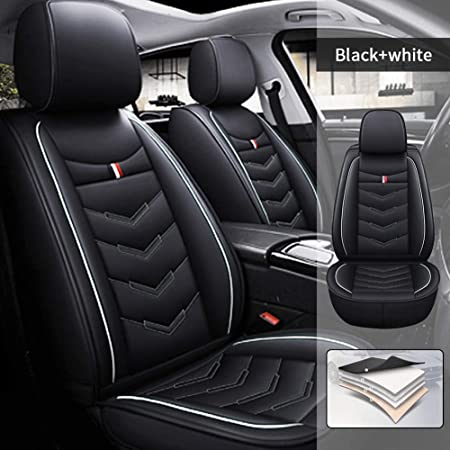 Black Fit for Toyota RAV4 2006-2020 The Two Front Car Seat Cover Protector with Waterproof PU Leather Easy to Install with Headrest and Lumbar Cushion