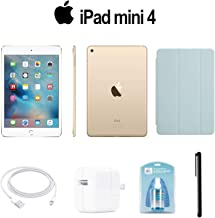 Apple 128GB iPad Mini 4 (Wi-Fi Only, Gold) (MK9Q2LL/A) with Turquoise Smart Cover + Accessories