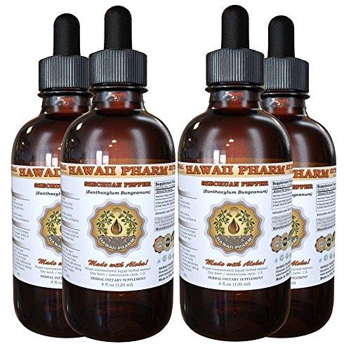 Szechuan Pepper Liquid Extract, Szechuan Pepper (Zanthoxylum Bungeanum) Berry Husk Tincture, Herbal Supplement, Hawaii Pharm, Made in USA, 4x4 fl.oz