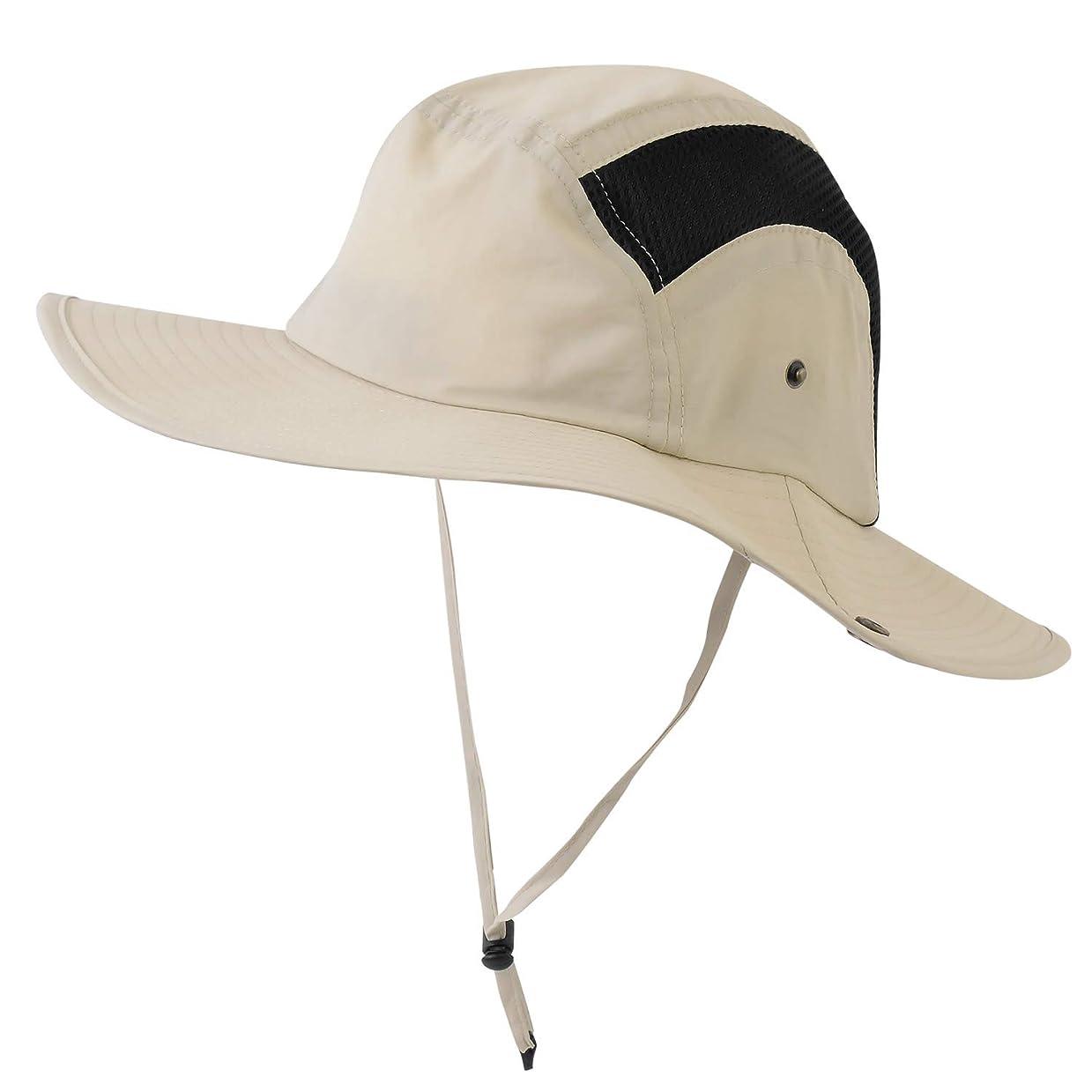 愛情サイレン日没AQshop アウトドア 帽子 メンズ メッシュ 登山 日よけハット UVカット 折りたたみ ひも付き 撥水
