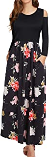 Women's Cold Shoulder Long Sleeve Floral Print Long Maxi Dress with Pockets