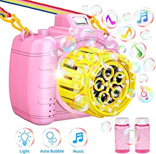 TECBOSS Bubble Machine, Camera Bubble Blower with Music LED Flashing Light, Best Summer Outdoor Toys for Kids/Toddlers, Pink