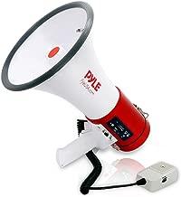 Pyle Megaphone 50-Watt Siren Bullhorn - Bullhorn Speaker w/ Detachable Microphone, Portable Lightweight Strap & Rechargeable Battery - Professional Outdoor Voice for Police & Cheerleading - PMP57LIA