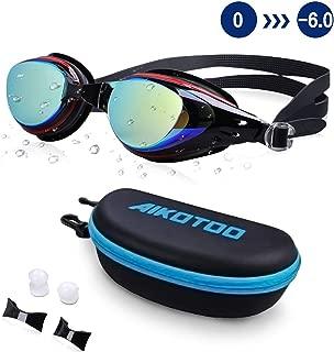 AIKOTOO Swim Goggles,Shortsighted Swimming Goggles Myopic with Prescription Lenses Anti Fog Nose Clip Ear Plugs for Women Kids Men, Swimming Goggles…