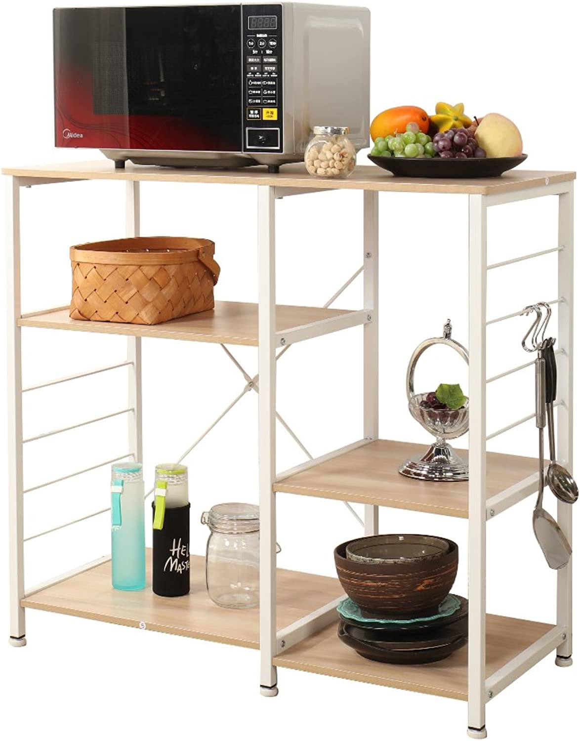 SogesHome Microwave Carts Microwave Stand Kitchen Baker's Rack Workstation with Storage Shelf, Oak 171-MO-HCA