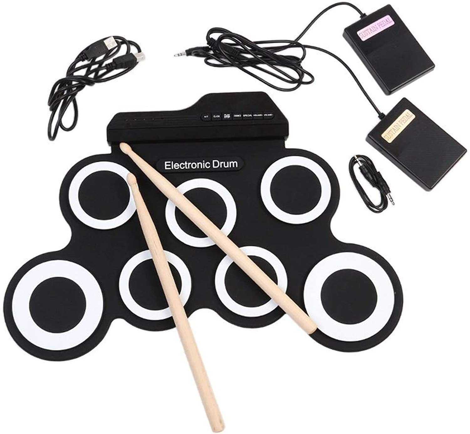 Janify Portabl Electronic Drum Set Roll Up Drum Practice Pad with Drumsticks for Kids,White