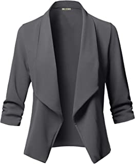 Women's Casual Stretch 3/4 Gathered Sleeve Work Office Business Blazer Open Front Jacket