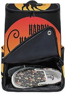 DEZIRO Mochila para portátil Happy Halloween con gato negro bolsa de computadora de viaje para mujeres y hombres universitarios, mochila de negocios