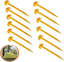 Socell 12 Pack 8 Inch Outdoor Tent Stakes,Heavy Duty Screw Style Screw Spiral Tent Peg Nail Ground Anchor Pegs or Gardening, Canopies, Beach Shades and Tarps(Yellow)
