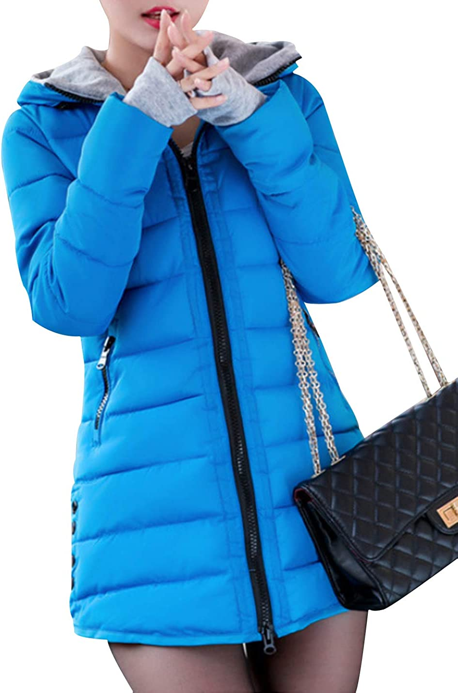 Yimoon Women's Thickened Quilted Padded Jacket Winter Hooded Coat