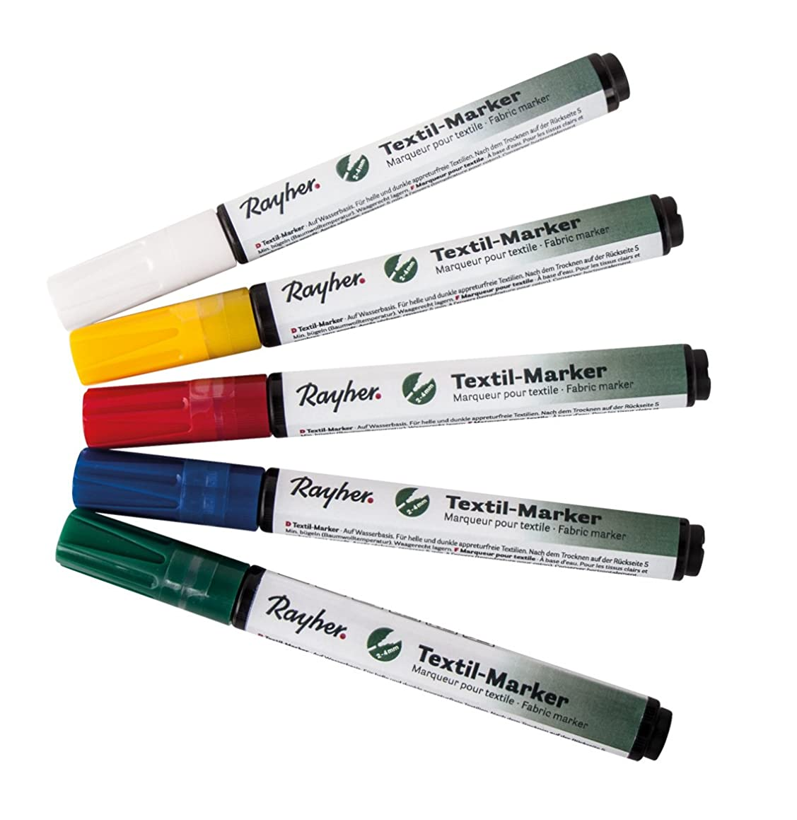 RAYHER Textile Marker Opaque Bullet Tip Valve Set 2?–?4?mm/Pack of 5?Assorted White Lemon, Classic Red, Apple Green, 1.16?x 1.44?x 0.16?cm Azure Blue