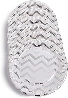 Papieren borden 23 cm diameter wegwerpborden partyborden papieren borden wegwerpbestek in zigzagpatroon 6 stuks (zilver)