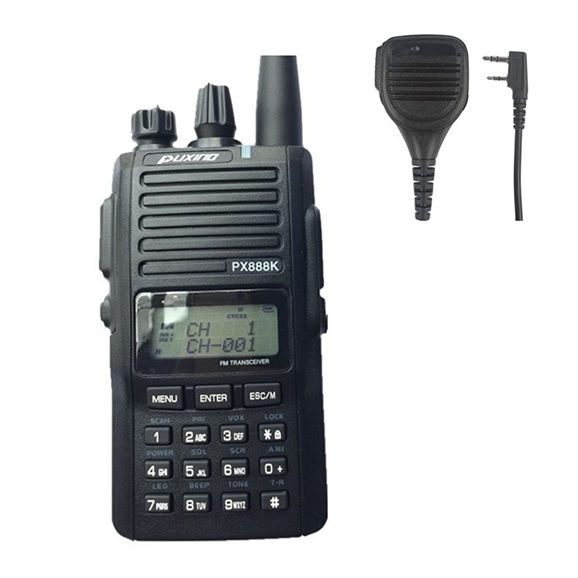 PUXING PX-888K Dual Band 5W Output Power Ruggerd Handheld Two Way Radio(Black) with Free Speaker Microphone