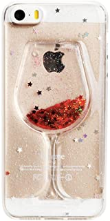 Jesiya for iPhone 5/5S/SE Case Wine Glass Star Sparkle Shiny Liquid Quicksand Flowing Floating Bling Glitter Soft TPU+Hard PC Case Cover for iPhone 5/5S/SE
