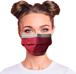 4-Ply Breathable Multi-Color Layer Disposable Face Mask - Made in USA - Highest Protection with Comfortable Elastic Ear Loop | For Travel, Offices, Business and Personal Care - Red + Black (50 PCS)