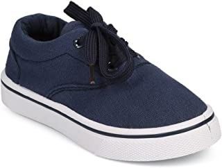 Canvas Round Toe Classic Lace Up Sneaker (Toddler/Little Boy/Big Boy) DG59 - Navy