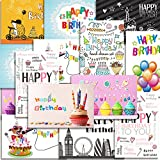 Kuuqa 20 Pezzi Buon Compleanno Carte Con 20 buste, biglietti d'auguri progettato da KUUQA...