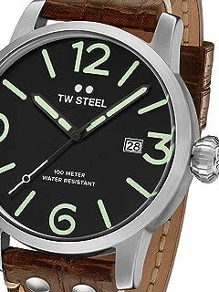 TW Steel Men's Maverick Stainless Steel Quartz Watch with Leather Calfskin Strap, Brown, 23 (Model: MS12)